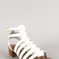 Strappy Double Buckle Open Toe Chunky Heel