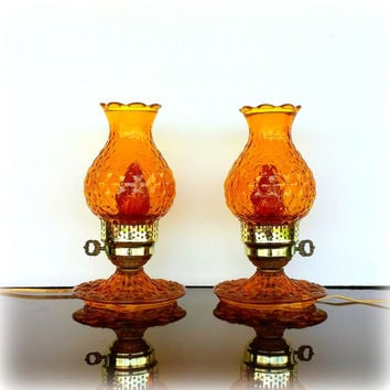 Cozy ANTIQUE AMBER LAMPS - Set of 2 Vintage Amber Glass Hurricane Lamps - Electric Plug in - Lovely Diamond Quilted Pattern - Yellow Gold