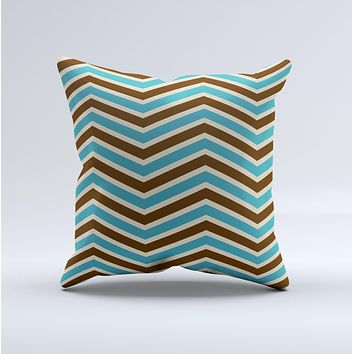 Vintage Wide Chevron Pattern Brown & Blue Ink-Fuzed Decorative Throw Pillow