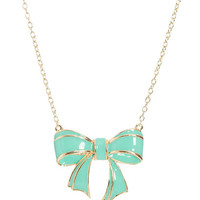 Epoxy Bow Pendant Necklace   Shop Jewelry at Wet Seal
