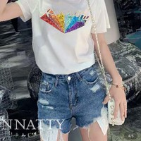 KINNATTY Women Casual Fashion Retro Rainbow Sequin Pattern Print Short Sleeve T-shirt Tops