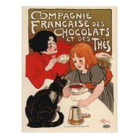 French Tea and Chocolate with Cat Postcard