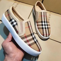BURBERRY Slip-On Popular Women Retro Plaid Comfortable Flats Sneakers Sport Shoes