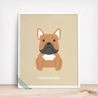 French Bulldog Print, French Bulldog Poster, Dog Print, Dog Breed, France Dog, Bouledogue Francais, Frenchie, Fathers Day Gift