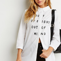 White Letter Print Long Long Sleeve Button Collar Shirt