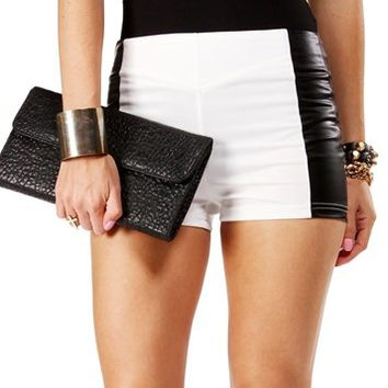 White/Black Side Faux Leather Shorts