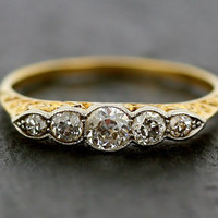 Antique Diamond Ring - Victorian 18ct Gold Five Stone Diamond Ring