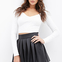 FOREVER 21 Pleated Faux Leather Skirt Black