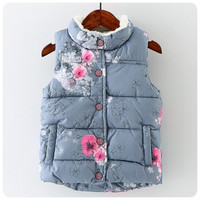 2016 new winter baby girls vest thick with fleece kids waistcoat floral print warm toddler children clothing vest girl costume