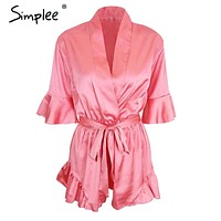 Simplee Apparel Summer style satin ruffles elegant jumpsuit romper Deep v neck sexy playsuit Women pink bow short beach overalls