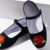 Embroidered Rose Mary Jane Flat - Urban Outfitters