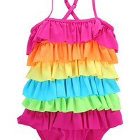 Toddler Baby Girls Summer One piece Swimsuit Beachwear Kids Rainbow Bikini Swimwear Bathing suit