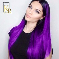 Cool 1B Purple Lace Front Human Hair Wigs For Women Pre plucked Brazilian Remy Hair Straight Wigs Bleached Knots King Rosa QueenAT_93_12