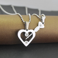 The Arrow of Cupid Couples Hearts Pendant Necklace