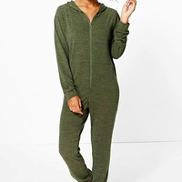 Phoebe Knitted Zip Front Hooded Onesuit | Boohoo