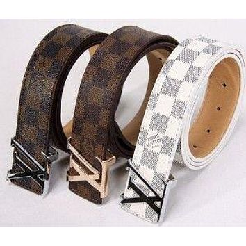 LV Tide brand classic checkerboard old flower simple retro smooth buckle belt