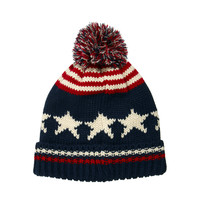 ASOS | ASOS Bobble Beanie With Stars And Stripes at ASOS