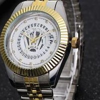 Rolex tide brand men and women watches F-PS-XSDZBSH Silver + gold wristwatch + gold case + white dial