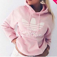 Pink Adidas Print Women's Long Sleeve Hoodies Sweater I