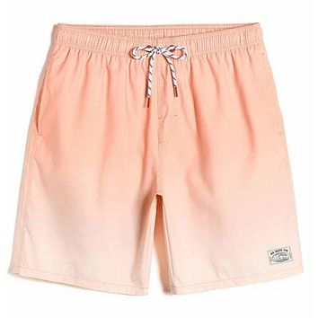 Fashion Casual Men Letter Patched Drawstring Swim Trunks