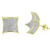 Kite Designer Earrings 14k Yellow Gold Finish Lab Diamonds  Screw Back Studs Pave Set