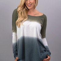 Olive and Navy Ombre Long Sleeve Top