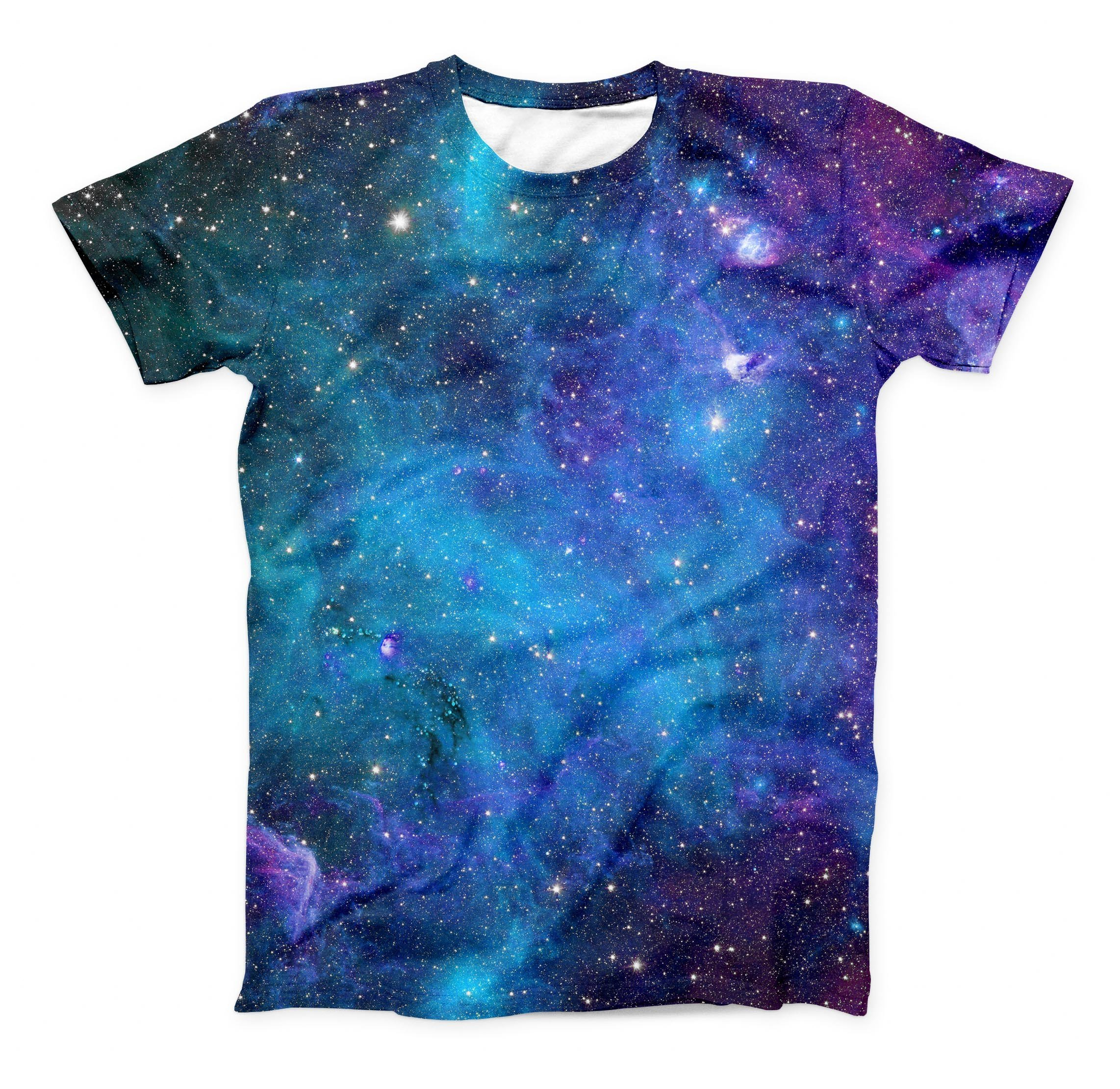 Image of The Azure Nebula ink-Fuzed Unisex All Over Full-Printed Fitted Tee Shirt