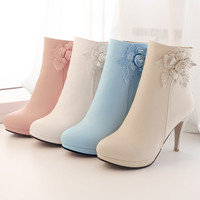 2015 New Women Ankle Boots Autumn Winter Boots Pink/White/Beige/Blue Sexy Platform Stiletto Heel Round Toe Shoes Woman Boots