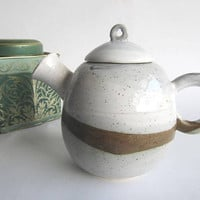 Pottery Tea Pot - White Grey Brown - Winter Landscape
