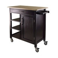 Natural Wood Top Mobile Kitchen Cart in Espresso Finish