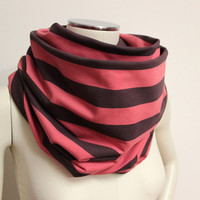 Striped Circle Scarf, Pink Taupe Scarf, Neck Warmer, Jersey Cowl Scarf, Chunky Pink Snood,Eternity Scarf,Large Cotton Cowl,Stripe Loop Scarf
