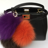 Trio orange-purple-brown Fox fur pom pom corsage Bag Charm Totem pendant