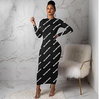 balenciaga Women Long Sleeve Bodycon Dress