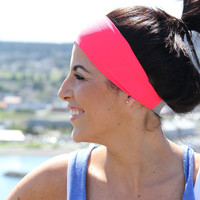 FitHappy Ladies Classic Exercise Headband in NEON CORAL, Perfect Width, Stylish Workout accessory, Fitness, Crossfit, Yoga, hair wrap