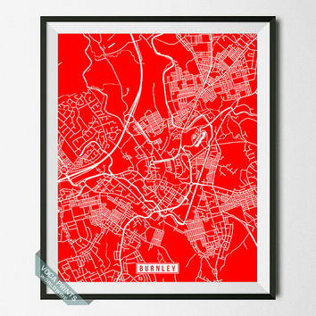 Burnley Print, England Poster, Burnley Map, Burnley Poster, England Print, England Map, Street Map, Map Print, Wall Art