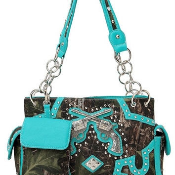 * Western Gun Accented Camo With Rhinestone Two Side Pocket Satchel Bag In Turquoise