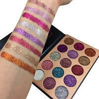 Beauty Glazed Glitter Injections Pressed Glitters Eyeshadow Diamond Rainbow Make Up Cosmetic 15 Colors Eye Shadow Magnet Palette