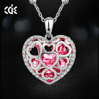 Austrian Crystal Rhinestone Heart Pendant Necklace Gift For Love 3 Colors
