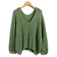 Green V Neckline Knitwear In Chunky Knit With Curved Hem