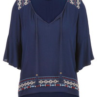 peasant top with embroidery