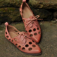 Handmade Fashion Leather Flat Shoes for Women  Sheepskin Pointed Toe Shoes, Hollow Soft Shoes, Women's Pink shoes Lace up flats