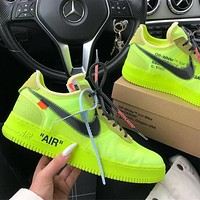 OFF-WHITE x Air Force 1 AF1 OW Fluorescent Green Sneakers