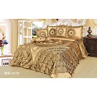 DaDa Bedding Shiny Golden Sateen Luxury Floral Puffy Ruffles Comforter Set - 4-Pieces - Twin Size (BM4578)