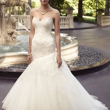 Casablanca Bridal 2116 Strapless Lace Asymmetrical Trumpet Wedding Dress