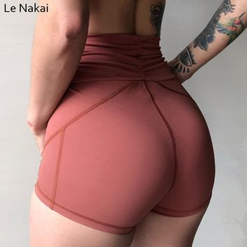 Sexy Wrinkle yoga shorts for women high waist tummy control gym shorts wide waist push up sport shorts workout compression short