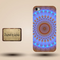 iphone case, i phone 4 4s 5 5s 5c case, iphone4 iphone4s iphone5 case, plastic rubber silicone cases cover,blue with brown   mandala  p1297b