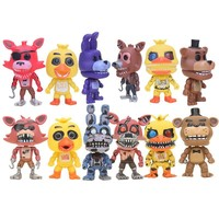 6pcs/set  At  PVC Action Figure Toy  Bonnie Foxy Chica Freddy Doll Toys Fox Figure For Kids