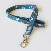 Boho Floral Lanyard / Flowers / Cute Keychain / Pretty Lanyard / Key Lanyard / ID Badge Holder / Fabric Lanyard / Peach Flowers / Girly