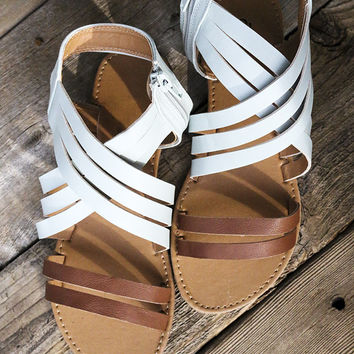 All You've Ever Wanted Cognac And Light Blue Leather Sandals