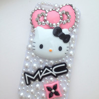 Studded Rock Chick Hello Kitty Crystallised Bling iPhone 5 Protective Cell Phone Case Cover